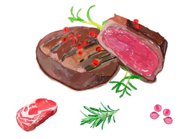 Stile acquerello disegnato a mano bistecca