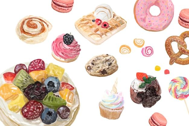 Stile acquerello disegnato a mano dolci