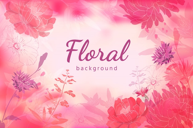 Stile acquerello fiori di autunno e di estate isolati su rosa-chiaro