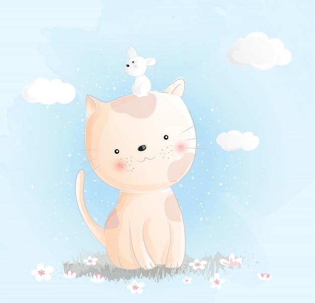 Stile acquerello gatto sveglio del bambino