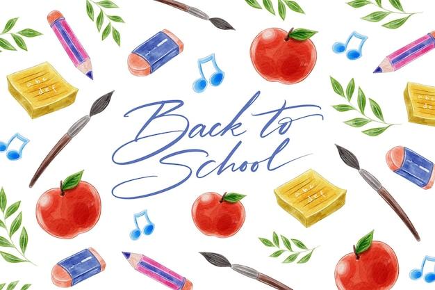 Stile acquerello torna a scuola sfondo