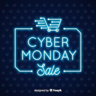 Stile al neon del fondo di vendita di cyber lunedì