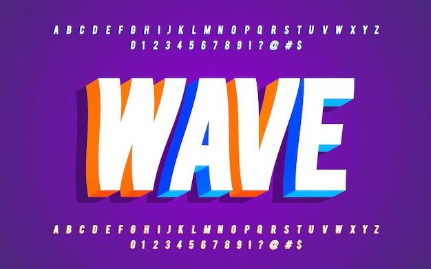 Stile alfabeto 3d con effetto onda