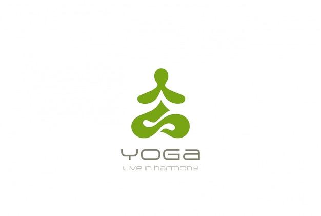 Stile astratto dello spazio negativo del modello di progettazione di posa di lotus di seduta dell'uomo astratto di logo di yoga. icona di concetto di meditazione zen buddismo ginnastica harmony logotype