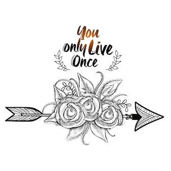 Stile boho, fiori disegnati a mano con freccia etnica. illustrazione in bianco e nero.