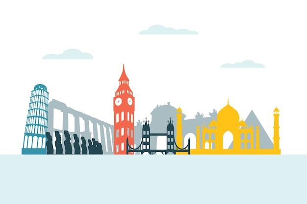 Stile colorato per skyline di punti di riferimento