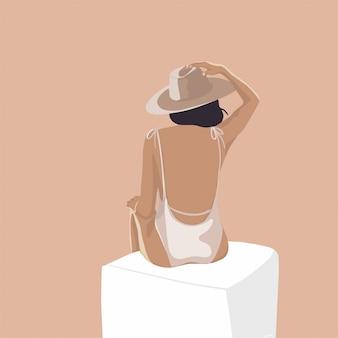 Stile d'avanguardia minimalista della ragazza piana di modo del ritratto dell'illustrazione dell'avorio