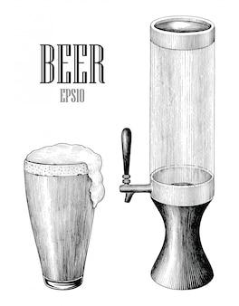 Stile d'incisione di tiraggio della mano d'annata della torre di birra e del boccale di birra isolato su fondo bianco