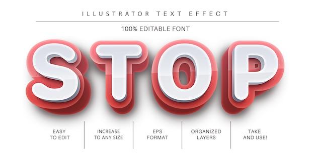 Stile del carattere effetto testo stop rosso 3d