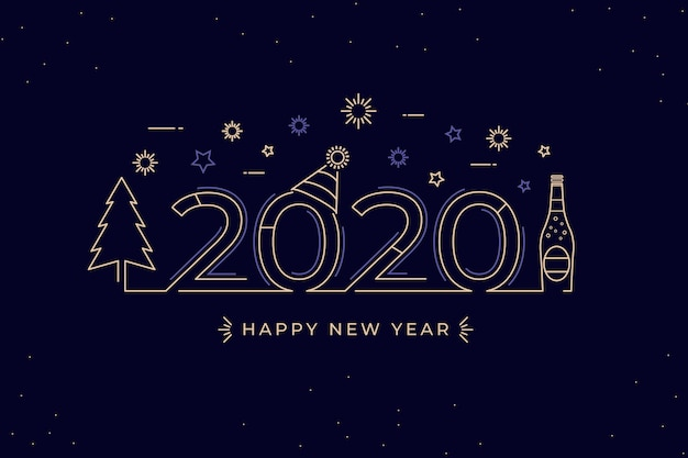 Stile del contorno per lo sfondo del nuovo anno