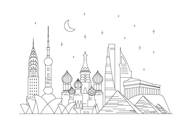 Stile del contorno per skyline di punti di riferimento