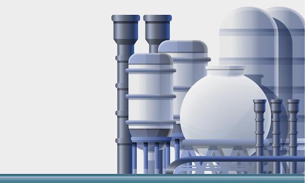 Stile del fumetto dell'illustrazione della fabbrica della raffineria di petrolio