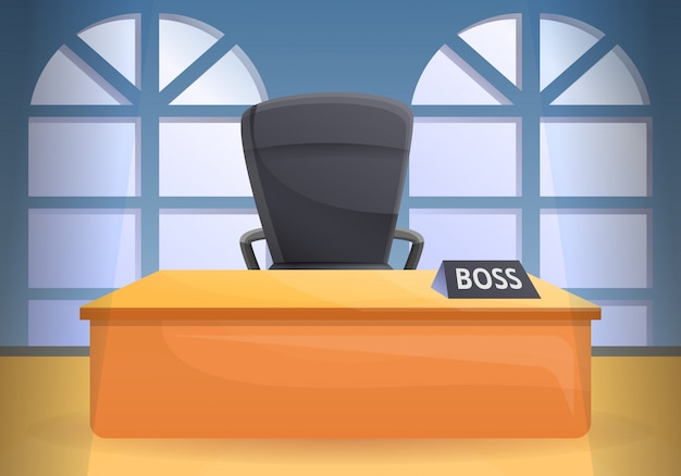 Stile del fumetto dell'illustrazione di concetto della sedia della scrivania
