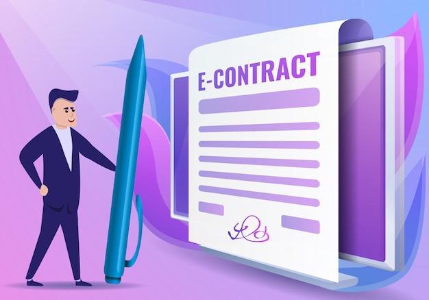 Stile del fumetto dell'illustrazione di concetto di contratto digitale