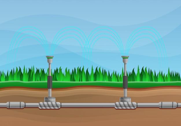 Stile del fumetto dell'illustrazione di concetto di sistema di irrigazione