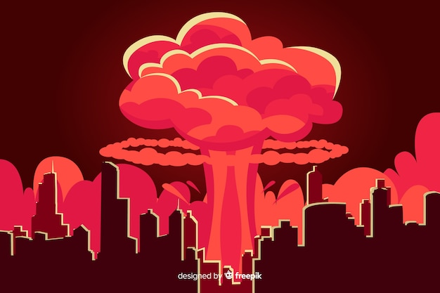 Stile del fumetto dell'illustrazione di esplosione nucleare