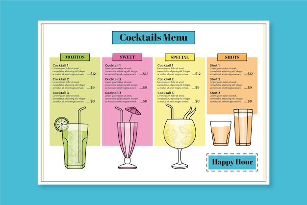 Stile del modello di menu cocktail