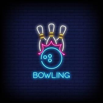 Stile delle insegne al neon di bowling