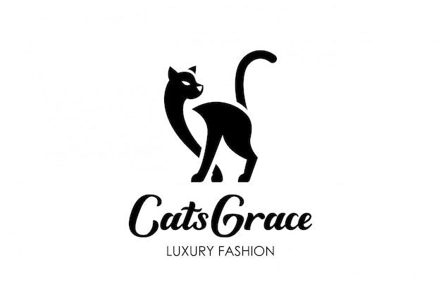 Stile dello spazio negativo del modello di cat silhouette logo.