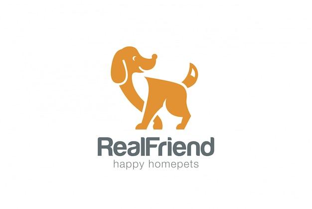 Stile dello spazio negativo del modello di logo della siluetta del cane.