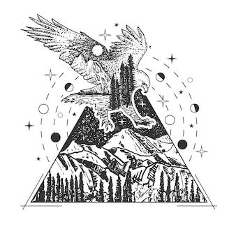 Stile di arte del tatuaggio dell'aquila