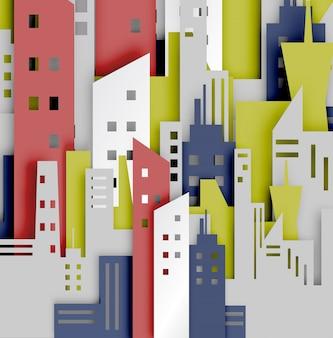 Stile di arte di carta astratto sfondo città