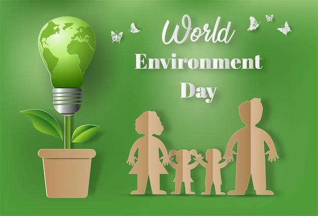 Stile di arte di carta del concetto di giornata mondiale dell'ambiente.