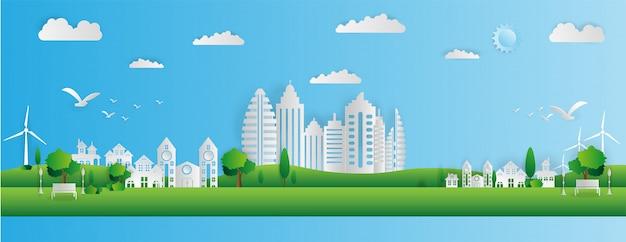 Stile di arte di carta del paesaggio della città