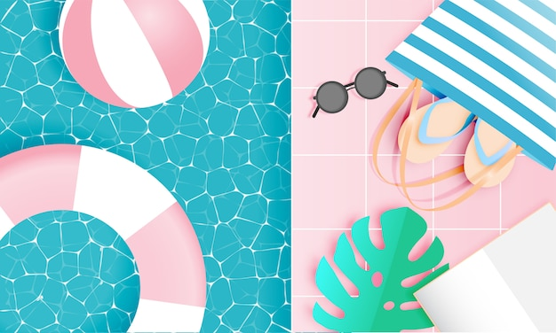 Stile di arte di carta di cose da spiaggia con colori pastello