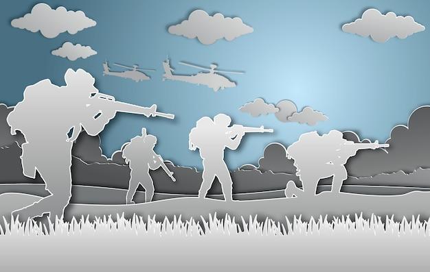 Stile di arte di carta illustrazione vettoriale militare.