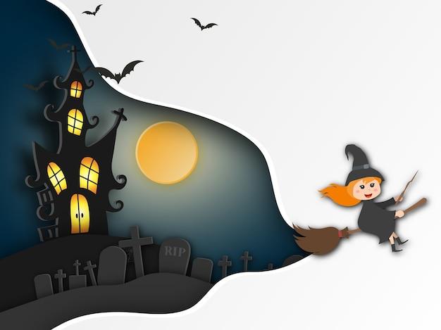 Stile di arte di carta sfondo halloween.