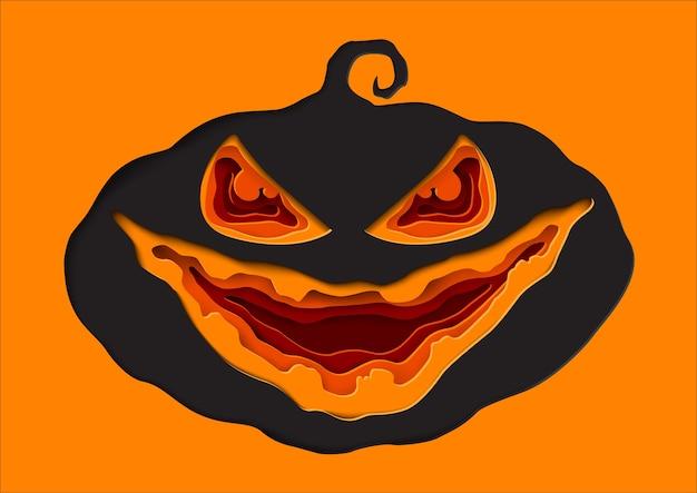 Stile di arte di carta zucca di halloween.