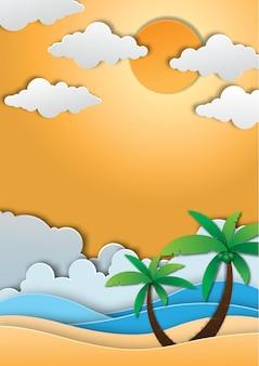 Stile di arte di sfondo carta estate.