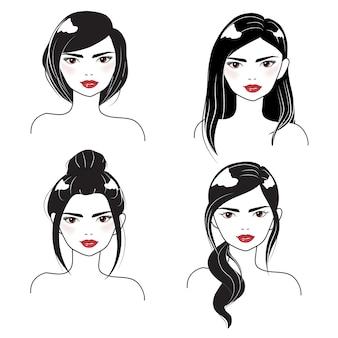 Stile di capelli differente del ritratto del fronte della donna in siluetta in bianco e nero