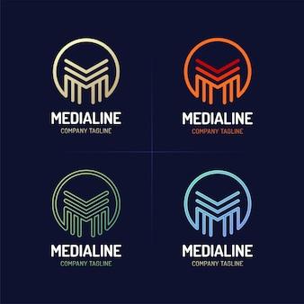 Stile di carattere di linea minima m lettera logo con cerchio.