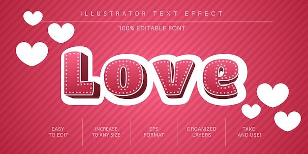 Stile di carattere effetto testo 3d love