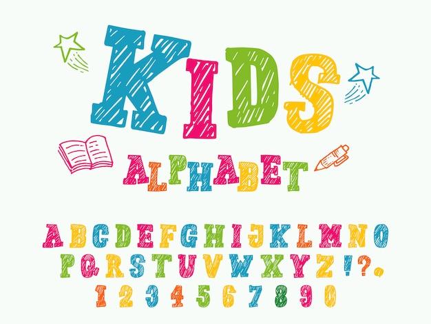 Stile di carattere per bambini alfabeto