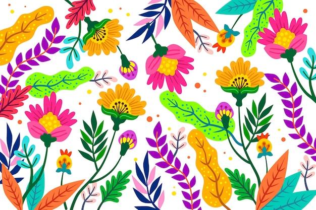 Stile di carta da parati con stampa floreale esotica colorata
