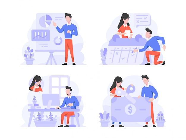 Stile di design piatto di illustrazione vettoriale, uomo e donna che fanno presentazione, programmazione con calendario, chiamata al servizio clienti e taglio delle tasse