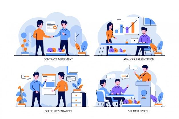 Stile di design piatto e contorno di illustrazione, accordo di contratto, presentazione di analisi, offerta, relatore, discorso