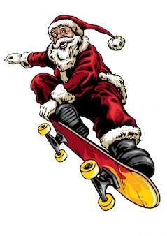 Stile di disegno a mano di babbo natale in sella a skateboard