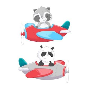 Stile di disegno della mano dell'elicottero e del pallone dell'aeroplano di trasporto aereo.