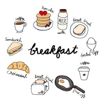 Stile di disegno illustrazione della collezione di cibo
