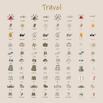 Stile di disegno illustrazione della collezione di icone campeggio