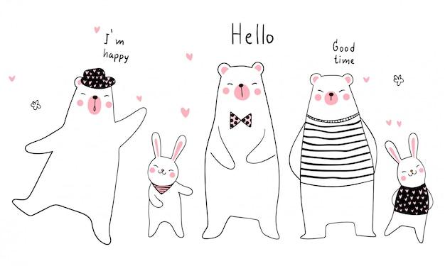 Stile di doodle animale divertente sfondo banner