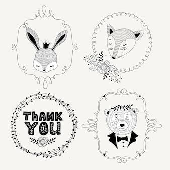 Stile di doodle di etichette di animali disegnati a mano carino
