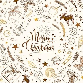 Stile di doodle di vettore di natale e capodanno inverno con lettering. decorazioni natalizie