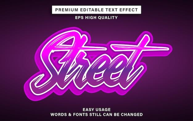 Stile di effetto di testo con scritte in strada