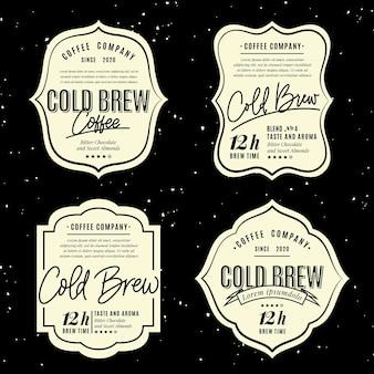 Stile di etichette di caffè freddo