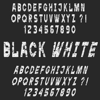 Stile di gesso bianco lettere e numeri di alfabeto di lerciume